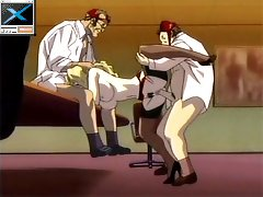 Blonde anime secretary getting abused by two pervs