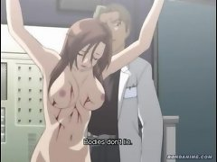 Anime brunette gets tortured by robotic arms in the lab