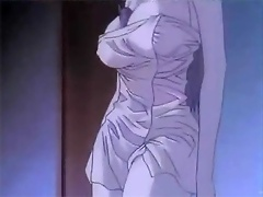 Hentai Secretary poses and gets mouthful of creamy cum